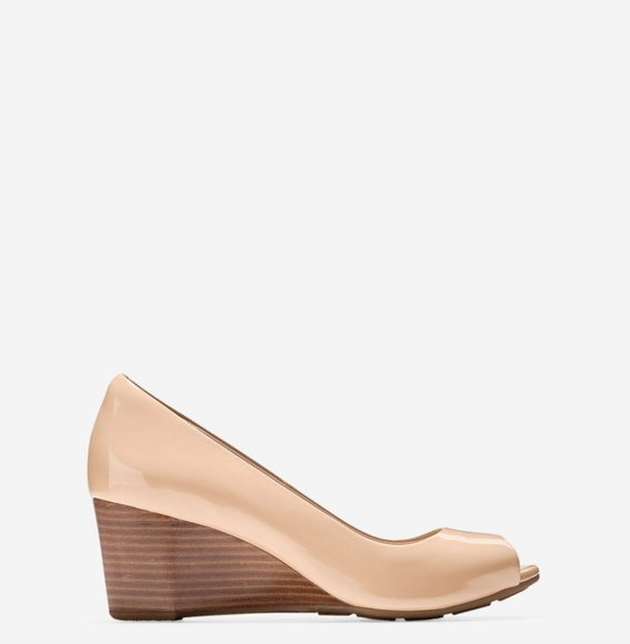 4c9c6528e1b9 Cole Haan Shoes - Cole Haan Sadie 7B open toe wedge nude patent